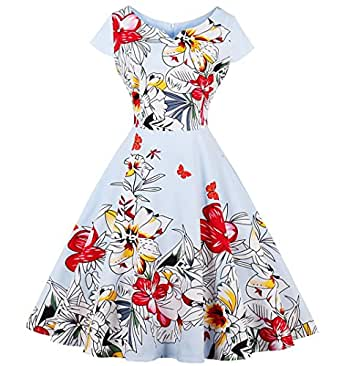 LaceLady Boatneck Vintage Sleeveless Tea Dress With Belt Pleated Swing Party (XXX-Large, Color04-1)