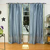 Gray Tie Top Sheer Sari Curtain / Drape / Panel – 43W x 84L – Pair
