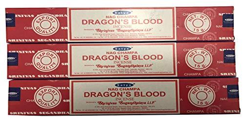 Satya Nag Champa - Dragon's Blood Incense Sticks - Pack of 3 (15 Gram Each)