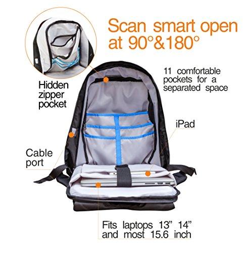 Laptop Backpack Anti Theft fit Computer 15.6 inch – Travel Waterproof Bag Lightweight Shockproof Business Backpacks Black Water Resistant for School Work College – Notebook Bookbag Urban