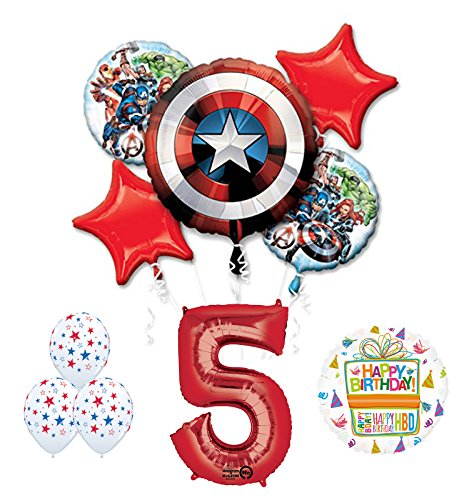 The Ultimate Avengers Super Hero 5th Birthday Party Supplies and Balloon Decorations -