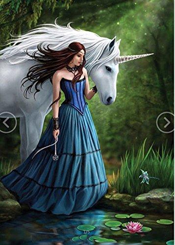 Unicorn Blue Skirt Girl 5D Diamond Embroidery Painting DIY Rhinestone Arts Cross Stitch Home Decor ()