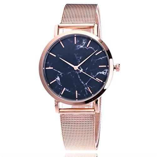 Dial Bracelet Dress Watch - Women Girls Analog Quartz Watches Stainless Steel Mesh Band Cuekondy Fashion Casual Marble Big Dial Dress Wrist Watch Bracelet (Rose Gold)