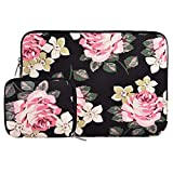 MOSISO Laptop Sleeve Compatible 13 Inch New MacBook Pro Touch Bar A1989 & A1706 & A1708 2018 2017 2016, Microsoft Surface Pro 5/4/3, Dell XPS 13, Canvas Rose Pattern Bag with Small Case, Black