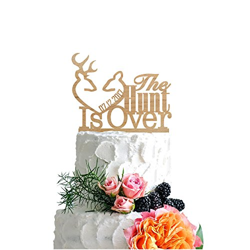 P Lab Personalized Cake Topper The Hunt Is Over Date Custom Wedding Cake Topper Rustic Wood Decoration Keepsake Engagement Favors for Special Event Ply (The Hunt Is Over Wedding)