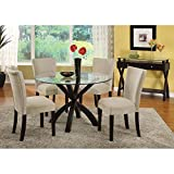 Monarch Specialties 48-Inch Spider Base Dining Table with 10mm Glass, Dark Espresso