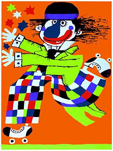 Decoration poster.Kids Interior design.Room art.Crazy running clown.7220