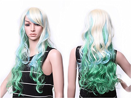 "SWACC 22"" Long Wave Curly Ombre Multi-color Lolita Cosplay Synthetic Wig Anime Costume hairpiece for Party with Wig Cap (Bleach Blonde (Curly Flapper Wig With Headband)"