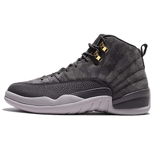Jordan Nike Men\u0027s Air 12 Retro Dark Grey/Dark Grey Wolf Grey.