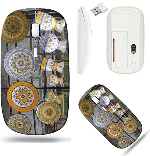 Liili Wireless Mouse White Base Travel 2.4G Wireless Mice with USB Receiver, Click with 1000 DPI for notebook, pc, laptop, computer, mac book Colorful Spanish ceramics in Toledo Spain (Toledo Ceramic)