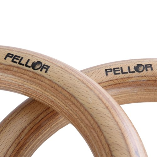 Pellor Olympic High Density Wooden Gymnastic Rings Gym Workout Exercise with Buckles Straps for Upper Body Strength Fitness Xzone Bodyweight Excercising Suspension Training
