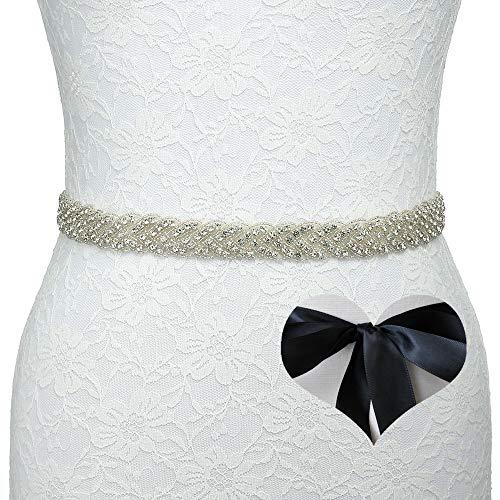 KunLai Black Wedding Belt, Bridal Belt, Sash Belt, Bridesmaid Belt, Crystal Rhinestone