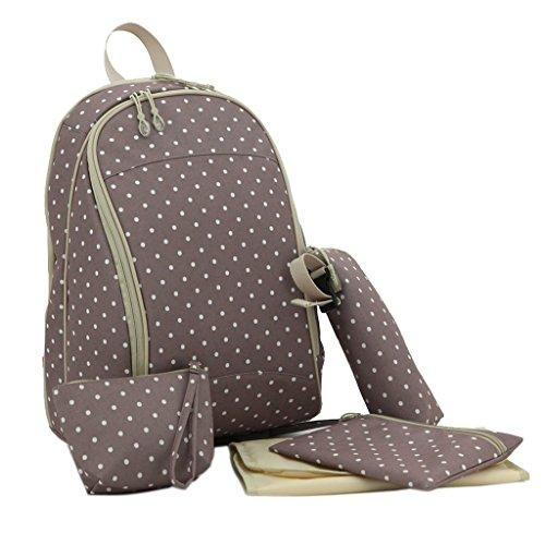 LCY–Mochila bolsa de pañales de bebé Purple Flowers Khaki Dots
