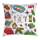 Ustcyla Camper Throw Pillow Cushion Cover, CampingEquipments with a Boat Compass Map Ax Tent Fire Tourism Illustration, Decorative Square Accent Pillow Case, Multi