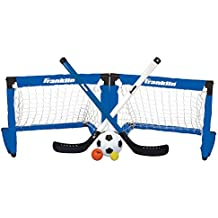 Franklin Sports 3-in-1 Indoor Sports Goal Set - Includes 2 Adjustable Hockey Sticks, 2 Foam Hockey Balls, 1 Street Hockey Ball, and 1 Mini Soccer Ball