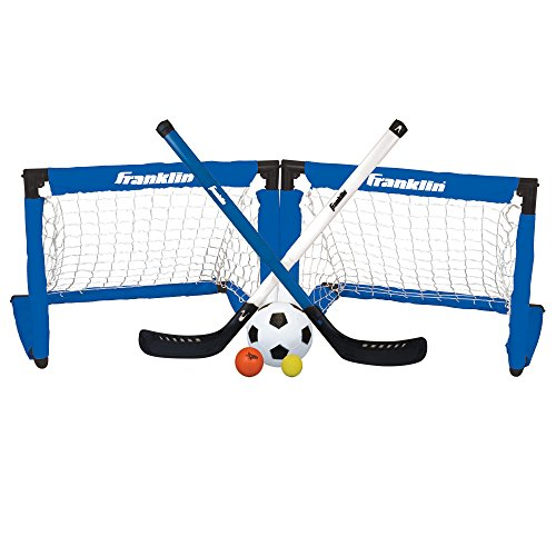 Franklin Sports 3-in-1 Indoor Sports Goal Set - Includes 2 Adjustable Hockey Sticks, 2 Foam Hockey Balls, 1 Street Hockey Ball, and 1 Mini Soccer Ball - Hockey Indoor Games