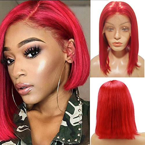 Lace Front Red Bob Wigs Pre Plucked 13x4 Glueless Colored Human Hair Lace Front Wig 180% Density Soft Thick Frontal Bob Wig 10 Inch Bleached Knots]()