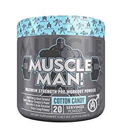 MUSCLE MAN – Pre Workout Muscle Builder for Men (& Women), Maximum Strength Nitric Oxide Booster with Creatine HCL, Alpha GPC, Beta Alanine and 11 More Vital Ingredients, Cotton Candy,  306 Gram