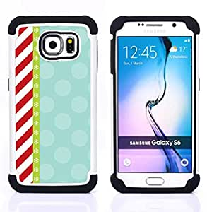 For Samsung Galaxy S6 G9200 - candy red white stripes pattern retro Dual Layer caso de Shell HUELGA Impacto pata de cabra con im??genes gr??ficas Steam - Funny Shop -