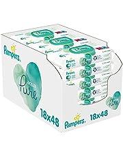 Pampers Aqua Pure Billendoekjes, 864 Babydoekjes (18 x 48 Doekjes), Gemaakt met 99% Puur Water + Biologisch Katoen, Dermatologisch Getest