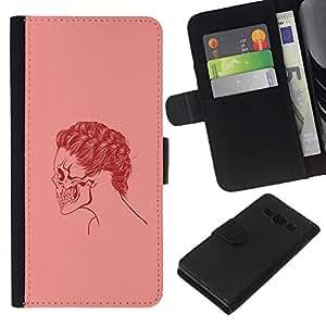 Protector de cuero de la PU de la cubierta del estilo de la carpeta del tirón BY RAYDREAMMM - Samsung Galaxy A3 - Cráneo rosado del pelo