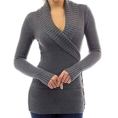 Women Sexy Slim Long Sleeve Wrap Front Cross Deep V Neck Long Sleeve Jumper Pullover Tops Knit Sweater