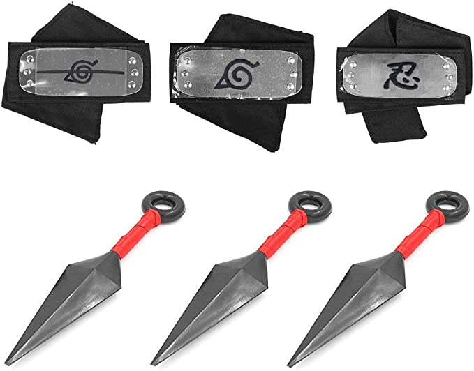 Naruto Headband, Master Online 3 Pcs Naruto Headband and 3 Pcs Plastic Toy Kunai with Metal Plated Cosplay Leaf Village Ninja Kakashi (Black )