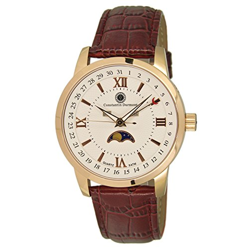 Constantin Durmont Men's Quartz Watch with Calendar Phases of Moon Analogue Quartz Leather CD-CALE-QZ-LT-RGRG-WH