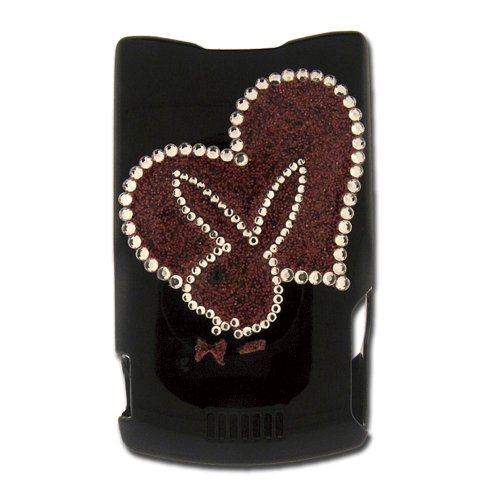 Licensed Black Playboy Snap-On for V3 with Glitter Heart and Bunny Outlined in Rhinestones
