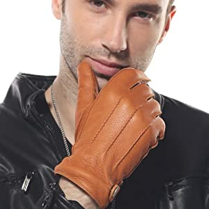ELMA Men's Deerskin Leather Winter Driving Cashmere Lined Gloves (XL, Sand Yellow)