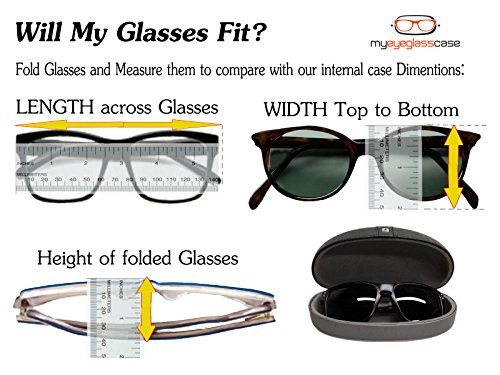 Hard Eyeglass Case   Protects Glasses of Medium & Small Size Frames + Microfiber Cleaning Cloth - Perfect For Men & Women