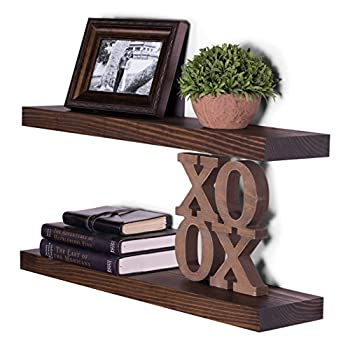 "DAKODA LOVE Clean Edge Floating Shelves, USA Handmade, Clear Coat Finish, 100% Countersunk Hidden Floating Shelf Brackets, Beautiful Grain Pine Wood Wall Decor (Set of 2) (24"", Espresso)"