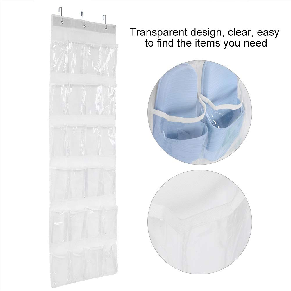 Transparent Hanging Storage Bags 24-Pockets Over Door Closet Shoe Storage Shoes//Toy//Scarf//Sundries Holder Organizer with 3 Hangers