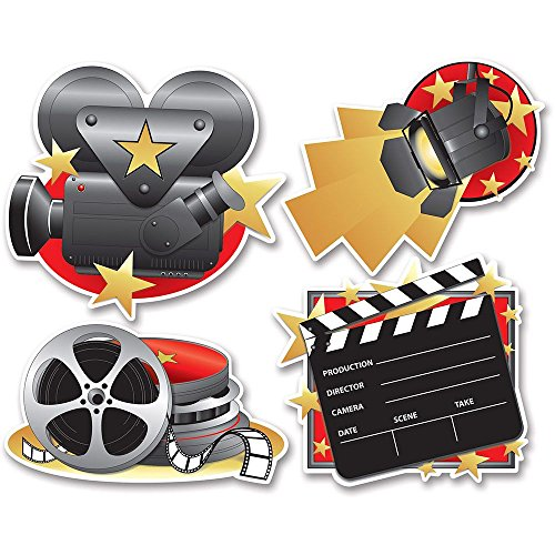 Beistle 54155 4-Pack Movie Set Cutouts, 16-Inch ()