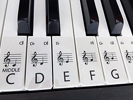 Claro Estándar Piano/Teclado Pegatinas para hasta 88 teclas
