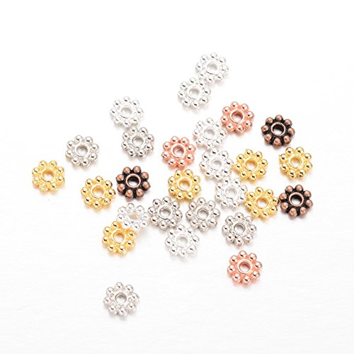 (Beadthoven 300pcs Tibetan Style Gold Mixed Color Alloy Daisy Spacer Beads for DIY Bracelet Necklace Earring Jewelry Making Supplies)