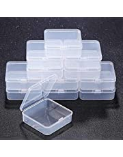 12 Pack Clear Plastic Beads Storage Containers Box Drawer Organizers with lid for Items,Earplugs,Pills Tiny Bead Jewelry Findings (2.9 x 2.9 x 1 Inch)