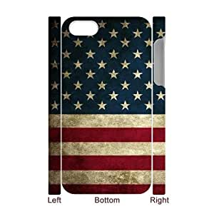 3D IPhone 4/4s Case American Flag Grunge Cheap for Girls, Iphone 4 Case for Men Cheap for Girls [White]