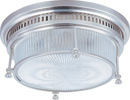 Maxim 25000CLSN Hi-Bay 2-Light Flush Mount, Satin Nickel Finish, Clear Halophane Glass, MB Incandescent Incandescent Bulb , 60W Max., Dry Safety Rating, Standard Dimmable, Glass Shade Material, Rated Lumens