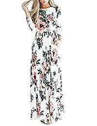 Women's Long Sleeve Bohemian Floral Print Beach Maxi Dress