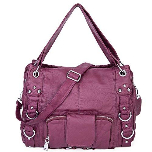 Lady washed leather handbag Large Capacity Soft Cross Body Tote Bag - ()