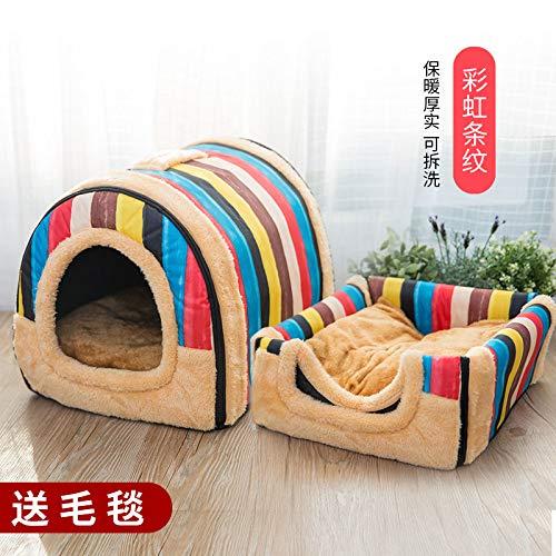 Kennel winter medium-sized small di dog house cat pet house bed washable four seasons universal yurt, rainbow stripes, L, 60cm47cm45cm