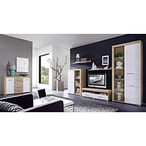 wohnwand sideboard set driveplus258 hochglanz wei sonoma eiche g nstig. Black Bedroom Furniture Sets. Home Design Ideas