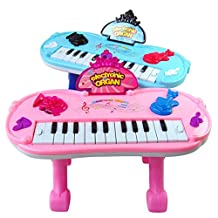 Electronic Keyboard, PeleusTech Multifunction Electronic Organ Music Keyboard Piano with Flash Light Stand Kids Children Educational Toy - Color Random