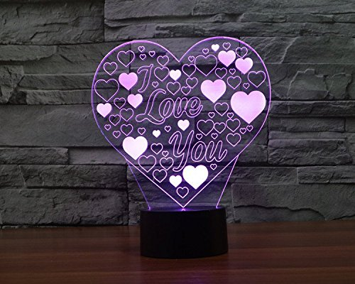 I Love You Heart Hologram LED Night Light Lamp - Color Changing