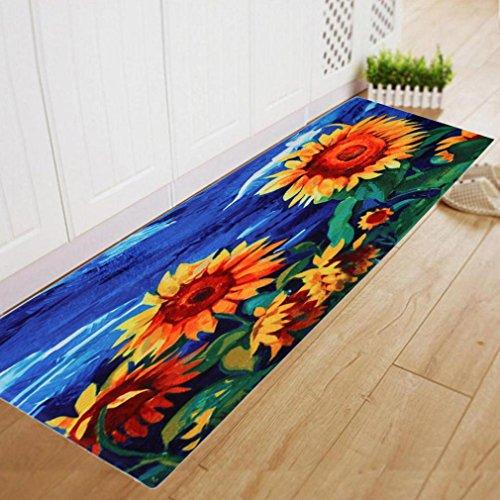 Molyveva Sunflower Print Long Kitchen Mat Comfort Floor Mats Dining Room Carpet Shaggy Soft Area Rug Bedroom Rectangle Floor Non Slip Mat 60*180CM