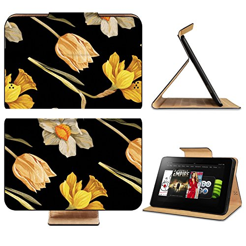 Amazon Kindle Fire HD 8.9 2012 Flip Case Narcissus and tulip vintage pattern IMAGE 32250282 by MSD Customized Premium Deluxe Pu Leather generation Accessories HD Wifi Luxury Protector