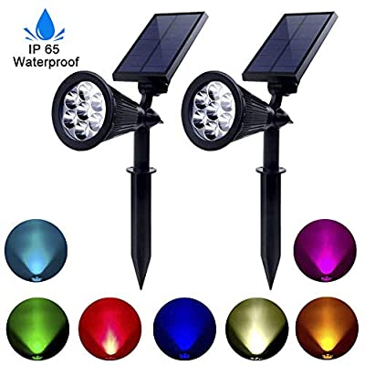 PAPRMA Solar Spotlights Outdoor, Upgraded 7 Color LED Waterproof Solar Landscape Lights, 2-in-1 Adjustable Solar Lawn Lights Wall Lights Auto On/Off for Pathway Gardens Lawn Pool, 2 Pack