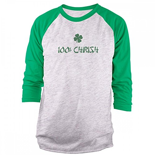 Vine Fresh Tees - 100% Chirish 3/4 Sleeve Raglan T-Shirt - X-Large, Ash w/Kelly