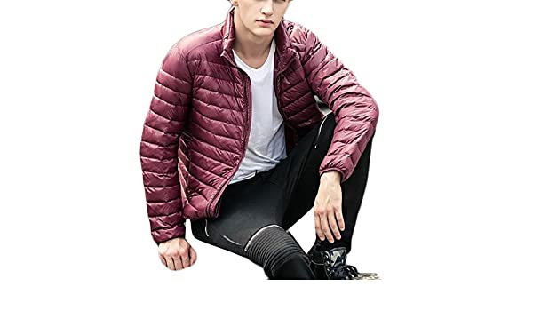 Fulok Mens Warm Stand Collar Packable Outerwear Puffer Down Coat Jacket Wine Red S